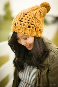 """Here's the free pattern for my """"Chunky Cabled Slouchy Beanie"""" using super bulky (level 6) yarn!  Pull out your chunky yarn and get started!"""