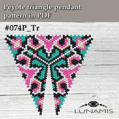 Peyote triangle patterns pattern for triangle bead pendant Triangle Pattern, Beading Tutorials, Beading Patterns, Peyote Stitch Patterns, Beaded Ornaments, Loom Beading, Bead Weaving, Bead Crafts, Necklaces
