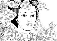 Adult coloring page Japan: geisha girl in the garden