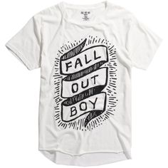 Hot Topic Fall Out Boy Banner Logo Raw Edge Tri-Blend T-Shirt ($19) ❤ liked on Polyvore featuring men's fashion, men's clothing, men's shirts, men's t-shirts, mens long sleeve collared shirts, mens collared shirts, mens long sleeve shirts and mens long sleeve t shirts
