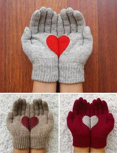 Prezenty na święta - gadżety - rękawiczki z serduszkiem - zrób to sam -  świąteczne dekoracje