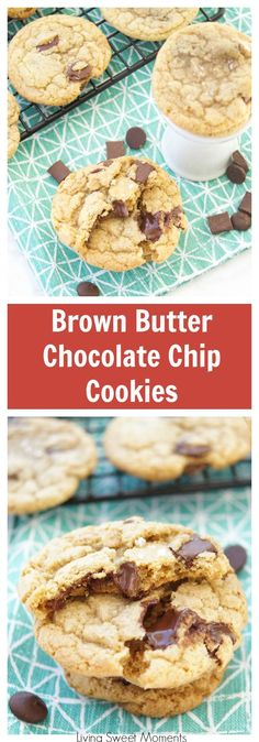 These amazing chewy Brown Butter Chocolate Chip Cookies have tons of butterscotch flavor, chocolate chunks and sea salt on top. The best cookie recipe ever! More chocolate chip cookie recipes at livingsweetmoments.com via @Livingsmoments