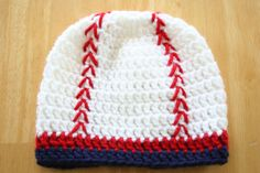 **Masons baby must have this hat** Baseball Hat crochet baby boy photo prop red white by JandEdoodles, $17.00