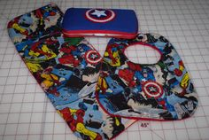 Captain America Superhero Baby Shower Gift Set - Fabric Covered Wipe Case, Burp Cloth and Bib on Etsy, $18.00
