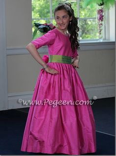 hot pink and lime green bat mitzvah dress with 3/4 sleeves