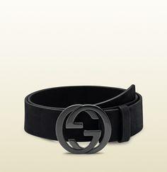 black suede belt with interlocking G buckle