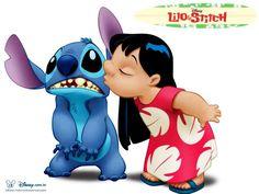 Papel de Parede Gratuito de Desenhos : Lilo e Stitch - Beijo
