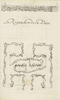 dance notation - Raoul Auger Feuillet's Le Rigaudon de la Paix: choreographie, 1700 Extrait du Recueil de danses, composées par M.Feuillet, Paris, 1700 Paris, Bibliothèque Nationale de France From: Danser sa vie. Centre Pompidou