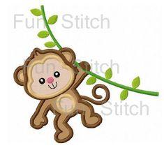 Jungle monkey applique machine embroidery design by FunStitch
