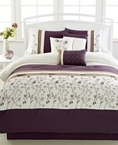 Bella Donna Plum 7-Pc. Embroidered Comforter Sets