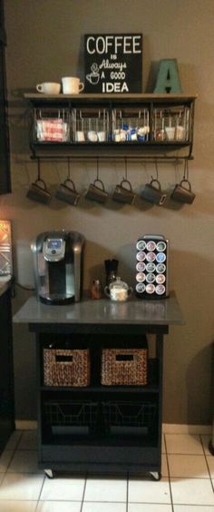 Rustic coffee station #Coffee (Coffee bar ideas) Tags: Rustic coffee station ideas, Rustic coffee station kitchens, Small coffee station #Wood
