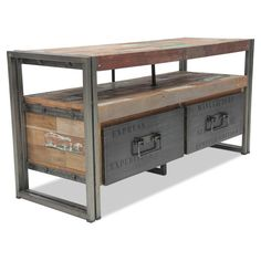 Industrial + Recycled Media Cabinet +  2 Drawers 112 x 40 x 55cm