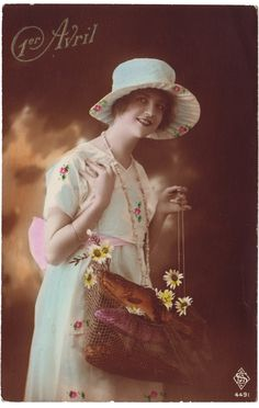 Love her dress and hat! #vintage #April_Fools_Day #fish #postcards