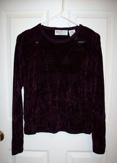 70fc16f71033 SAlE 60% OFF Vintage Ladies Purple Crew Neck Pullover Plum Velour Sweater  by Milano Medium