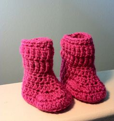 Handmade Crochet Baby Girl Boots with Foldover Cuffs (Hot Pink) on Etsy, $8.99