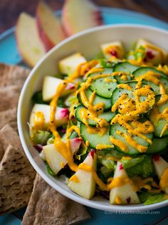 Vegan White Peach Salad with Carrot Ginger Cashew Dressing