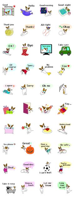 This is the second version of Sunny's stickers which is in English. She looks like Jack Russell Terrier, but is a mixed breed dog lives in Tokyo!