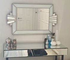 HandCrafted Cabinetry Clean, Crisp, and White Vienna Majestic Original Handcrafted Art Deco Wall Mirror In White for [keyword Entryway Mirror, Wall Mirror, Vintage Furniture, Furniture Design, Cabinet Door Styles, Art Deco Mirror, White Subway Tiles, Counter Height Table, Dark Cabinets