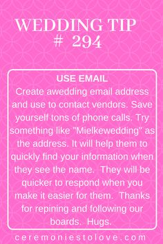 As the bride, you will be making tons of contacts with vendors, family and even websites while you are planning your dream wedding. This advice will help reduce stress, get organized and stay focused. Thanks for repining and following our boards. We collected lots of great tips and ideas for you. Hugs.