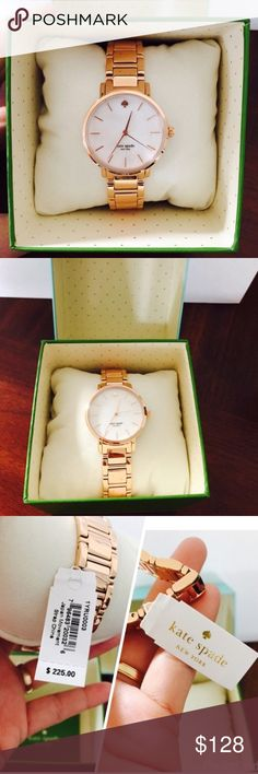 🌹💐#Last1🌹Kate Spade Rose Gold Gramercy 16mm👑💞 🌹😍100% Authentic Kate Spade Women's Rose Gold Gramercy 16mm Band Dress Sports Watch 1YRU0003🌹😍NWT😍💐🌹The design lends itself perfectly to office attire and cocktail dressing alike. Model: 1YRU0003.  Specifications FeaturesButterfly Deployant closure, 3 ATM MovementThree Hand Quartz GenderWomen BandStainless Steel StyleDress/ Sport Metal TypeStainless Steel Case Size34 mm Dial ColorWhite kate spade Accessories Watches