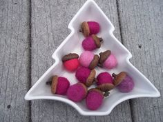 Pink Magenta Felted Acorns by TwiceNicePurses on Etsy #pcfteam