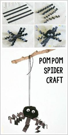 Halloween Craft for Kids: Simple pompom spider craft for preschool, kindergarten, first grade, and on up! These make great homemade Halloween decorations for a classroom party. ~ BuggyandBuddy.com