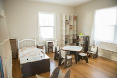 Adorable neutral kid's bedroom with Sprout Kid's Furniture! Great kid's bedroom and play room furniture!