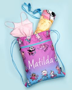 looking for a custom present? want a ballet bag they can't lose? this is perfect! unique and cute, the cats, pandas, unicorns pigs and sloths on here are ballet mad, just like your little one!