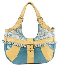 Daffodil Turquoise carry-all   handbag  by amykathryn