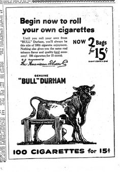 An old advertising label for Bull Durham smoking tobacco