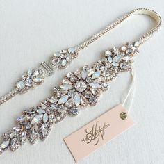 Customized with white opal stones. Headpiece Jewelry, Wedding Jewelry, Diy Jewelry, Beaded Jewelry, Jewelery, Jewelry Design, Bride Belt, Wedding Sash Belt, Wedding Belts