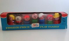 Vintage Fisher Price Little People Play Family Wood 1966 Playset NEW Mom Dad Dog