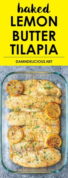 Baked Lemon Butter Tilapia – Easy Recipe ready in 20 min. Fish Recipes, Healthy … Baked Lemon Butter Tilapia – Easy Recipe ready in 20 min. Fish Recipes, Healthy Recipes, Healthy Dinner Recipe, Dinner Recipe Meals to try Lemon Butter Tilapia, Lemon Fish, Lemon Pepper Tilapia Baked, Fish Recipes Lemon Butter, Oven Baked Tilapia, Garlic Butter, Cooking Tilapia In Oven, Clean Eating Tilapia, Baked Tilapia Fillets