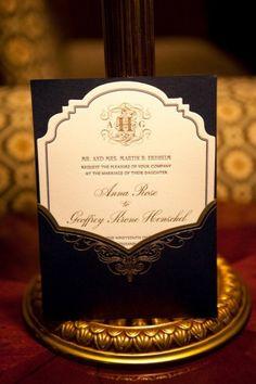 Black and gold wedding invitation with monogram ♥ Waheh Bastion Post Modern Wedding & Event Venue Atlanta, GA http//:www.waheh.com info@waheh.com
