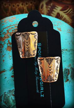 Reserve Listing For Jodi Benson~Solid Copper Stamped Post Earrings  These…