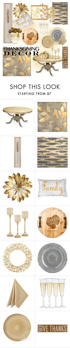 """Thanksgiving Decor"" by coolhewie ❤ liked on Polyvore featuring interior, interiors, interior design, home, home decor, interior decorating, Thro, Godinger, Cathy's Concepts and Kim Seybert"