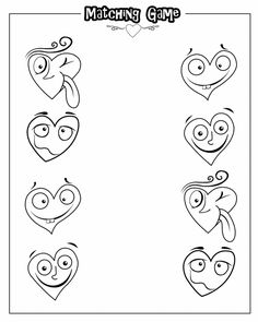 Silly Hearts Matching - -  Pinned by @PediaStaff – Please Visit http://ht.ly/63sNt for all our pediatric therapy pins