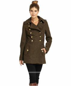 Missy Sixty Women's Military Inspired Peacoat in Army Green Size Medium Sale $175. You'll command attention in this strong, polished, military inspired  peacoat. Gleaming embossed goldtone buttons, double breasted front closure, as well as notched collar adds military flair to this lovely wool-blend coat. Looks fabulous with a refined beautiful pair of boots. Women's Fashion, Fashion Outfits, Army Green, Double Breasted, Wool Blend, Military, Strong, Closure, Buttons