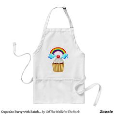 Cupcake Party with Rainbow & Sprinkles Adult Apron