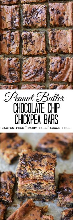 Peanut Butter Chocolate Chip Chickpea Bars - gluten-free, refined sugar-free, dairy-free, and packed with protein and fiber Gluten Free Baking, Vegan Baking, Gluten Free Desserts, Healthy Baking, Vegan Desserts, Delicious Desserts, Yummy Food, Baking Snacks, Vegan Sweets