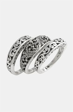 Rings Ideas : Lois Hill 'Classics' Stackable Rings (Set of Baguette Engagement Ring, Vintage Engagement Rings, Bridal Jewelry, Silver Jewelry, Silver Rings, Jewlery, Unique Rings, Beautiful Rings, Lois Hill Jewelry