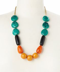 Look at this Gold & Orange Chunky Beaded Necklace on #zulily today!