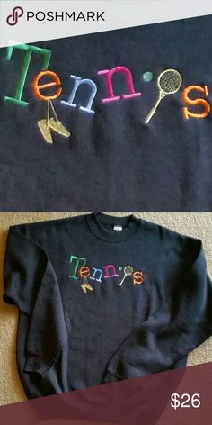465234f9 TENNIS SWEATSHIRT BRAND NEW Black fleece with embroidered design, racquet &  dangling shoes in gold metallic thread and letters in satin threads.