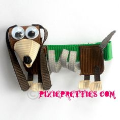 Slinky Dog from Toy Story Ribbon Sculpture Hair Clip Ribbon Hair Clips, Baby Hair Clips, Ribbon Art, Ribbon Hair Bows, Diy Hair Bows, Ribbon Crafts, Pixie, Disney Bows, Rainbow Loom Charms