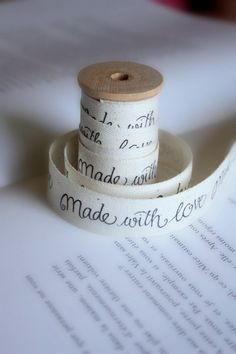 Made With Love Cotton tape  Twill Ribbon by lillalotta on Etsy