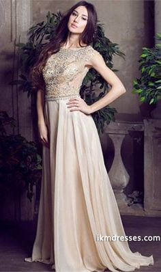 015 Elegant Prom Dresses Scoop A Line Floor Length Beaded Tulle Bodice With Chiffon Skirt http://www.ikmdresses.com/2014-Elegant-Prom-Dresses-Scoop-A-Line-Floor-Length-Beaded-Tulle-Bodice-With-Chiffon-Skirt-p84332