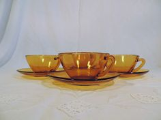 Vereco large square amber glass coffee cups cafe au by Frenchidyll