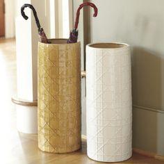 a good mudroom needs a pretty umbrella stand! Ballard Designs - Gabriella Umbrella Stands #ceramic #geometric