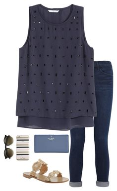 """""""Untitled #143"""" by annakhowton ❤ liked on Polyvore featuring Frame Denim, H&M, Jack Rogers, Kate Spade, women's clothing, women's fashion, women, female, woman and misses"""