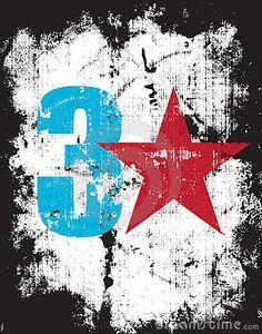 Grunge Effect Number Three Plus a Red Star by Srooeintan, via Dreamstime